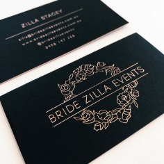 BRIDE ZILLA EVENTS / black with rose gold foiled edging