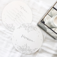 ISABELLA & AARON / circle menus in grey on white