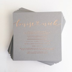 LOUISE & NICK / rose gold foil on grey, with vellum gifts card and vellum envelopes