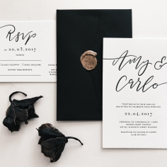AMY & CARLO / black letterpress on white with black envelopes and gold wax seals