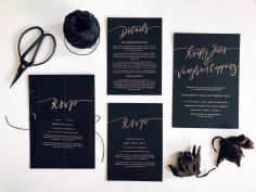 KRISTY & VAUGHAN / rose gold foil on black