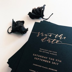 MARGARET & TODD / rose gold foil on black
