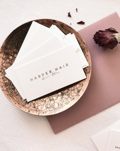 HARPER HAIR / branding in rose gold foil on white