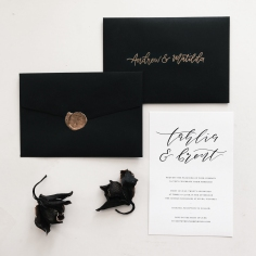 TAHLIA & BRENT / black on linen with black envelopes and gold wax seals