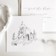 CARLO & JANICE / custom church illustration in grey on linen
