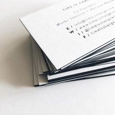 TIME IV CHANGE / black foiled business cards with black edging