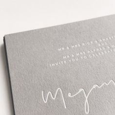 MEGAN & ALAIN / white foil on grey