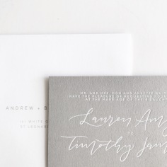 LAUREN & TIMOTHY / white foil on grey
