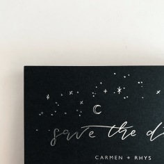CARMEN & RHYS / silver foil on black