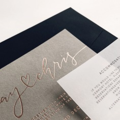 FAY & CHRIS / rose gold on grey, vellum details and black envelopes