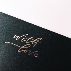 WITH LOVE / rose gold foil on black envelope