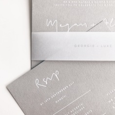 MEGAN & ALAIN / white foil on grey with personalised vellum belly band