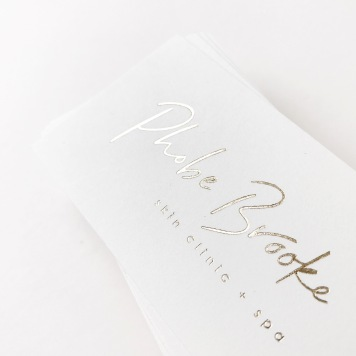 PHOBE BROOKE / pale gold on white