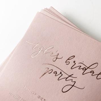 TYLA'S BRIDAL SHOWER / rose gold foil on blush
