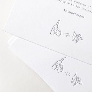 THUY & NATALINO / grey letterpress on white