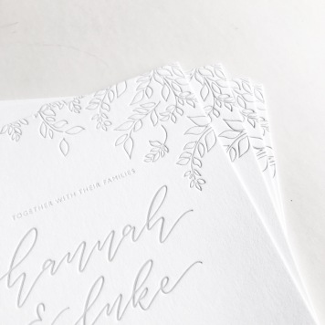 HANNAH & LUKE / grey letterpress leaf illustration on white