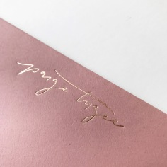 PAIGE TUZEE / rose gold foil on dusty pink envelopes