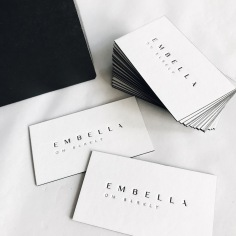 EMBELLA ON BARKLEY / branding in black letterpress on white