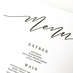 AMY & CARLO / black letterpress menu