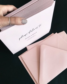 RICHELLE & RICK / black digital print blush envelopes