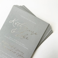 KATHERINE & LUKE / gold and white foil on grey