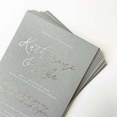 KATHERINE & LUKE / gold and white foil on grey