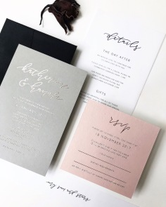 KATHERINE & HANAFI / gold foil on grey and blush, black digital print on vellum and black envelopes