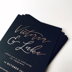 VICTORIA & LUKE / rose gold foil on black