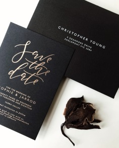 SOPHIE & JARROD / rose gold foil on black