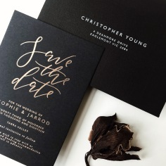 SOPHIE & JARROD / rose gold foil on black