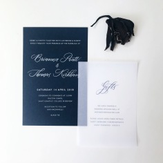 BREE & THOMAS / white foil on navy, navy on vellum