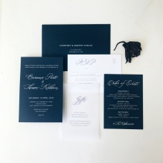 BREE & THOMAS / white foil on navy, navy on white and vellum