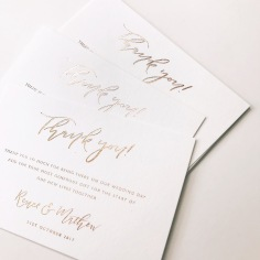RENEE & MATHEW / gold foil on white thank you cards