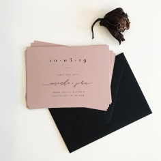 AMANDA & JOHN / black digital print on blush