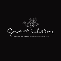 GOURMET SELECTIONS / branding in white on black
