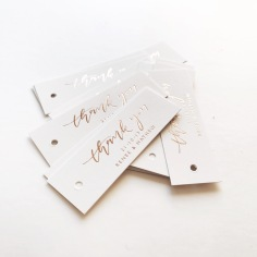 RENEE & MATHEW / thank you tags in rose gold on white