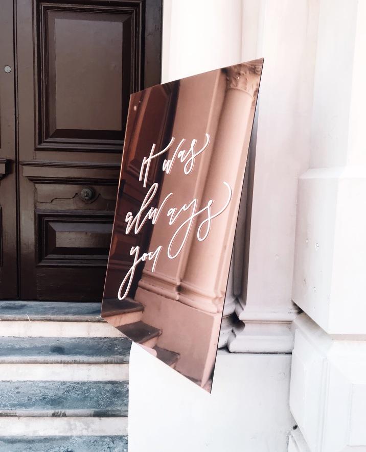 CARMEN & RHYS / white lettering on rose gold sign