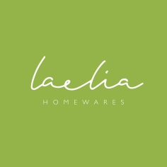 LAELIA HOMEWARES / branding in olive green on white