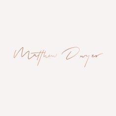 MATTHEW DWYER / branding in rose gold on white