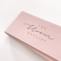 THE BLOOM STYLIST BRANDING / black letterpress on blush