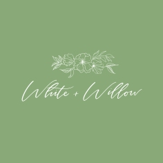 WHITE + WILLOW / branding in white and olive green