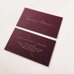BIANCA TUZEE / matte gold foil on burgundy
