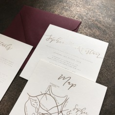 SOPHIE & KRISTAN / gold foil on white with burgundy envelopes