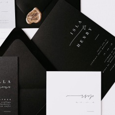 ISLA & HENRY / white ink on black STYLIST / @madetomatchevents PHOTOGRAPHER / @ash_and_stone STATIONERY / @paigetuzee_designs