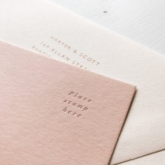 AMANDA & DANE / rose gold on blush pink RSVPs
