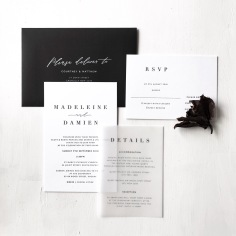 MADELEINE & DAMIEN / black letterpress on white