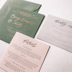 BRIONY & TIMOTHY / rose gold on green, rose gold on pale pink and charcoal on grey