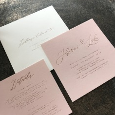 SHARNI & LUKE / rose gold on blush with pale pink envelopes