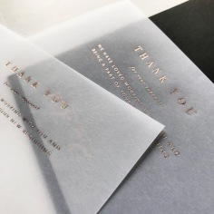 PAIGE TUZEE / rose gold foil on vellum thank you cards