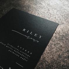 ISLA & HENRY / menus in white ink on black